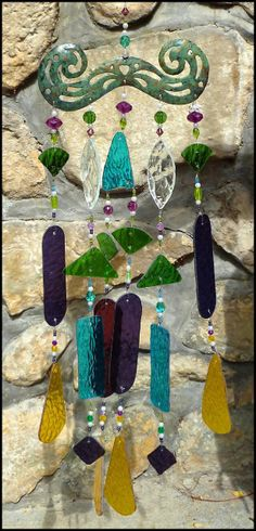 "Stained glass Windchime with Decorative Metal Top - 26"" long $139.95 -Stained Glass Sun Catchers, Stained Glass Wind Chimes, Handcrafted Stained Glass Designs, Suncatchers -  From Accent on Glass - www.AccentonGlass.com"