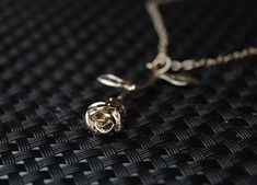 Beauty and the Beast Rose Necklace Rose Gold Rose Necklace