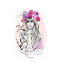 La encantadora ilustración de moda de Kelly Smith | Chic artistry #illustration #girls #flowers