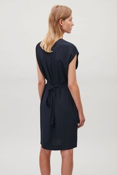 COS image 3 of Silk dress with wrap tie in Navy
