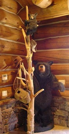 Awesome need this in our cabin! See my Northern Michigan vacation rental at… Log Cabin Kits, Log Cabin Homes, Log Cabins, Rustic Cabins, Western Decor, Rustic Decor, Rustic Charm, Rustic Wood, Black Bear Decor