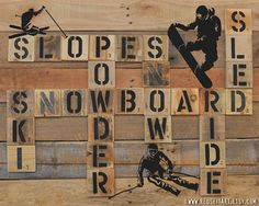 Print or Canvas: Winter Sports Skiing Snowboarding Pallet Art Scrabble Wall Decor Choose Lustre Fine Art Print or Gallery Wrapped Canvas on Etsy, $20.00