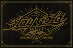 Ad: Stay Gold Script + Web Font & Bonus by Spencer & Sons Co. on Stay Gold Script is a highly usable, powerful typeface. Perfect for everything from street wear brand to wedding invitations, sports team Cool Fonts, New Fonts, Type Fonts, Funky Fonts, Typography Letters, Hand Lettering, Typography Served, Eagle Vector, Vintage Fonts