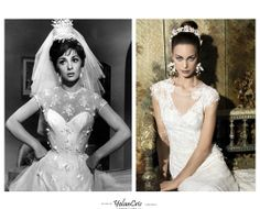 "Gina Lollobrigida in the love comedy ""Come September"" (1961). Gina was Lisa in the film, and her wedding dress remind us to the Mendoza bridal gown.  #nostalgic #weddingdress #brides #specialcinema #unique"