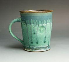 Handcrafted stoneware 16 oz plus seafoam green tea cup coffee mug - 1095