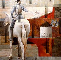 Sergio Cerchi. Quijote. Óleo sobre tela. 100x100cm.