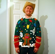 Party Planning: Tacky Christmas Sweater Ugliest Christmas Sweater Ever, Diy Ugly Christmas Sweater, Ugly Sweater Party, Christmas Jumpers, Xmas Sweaters, Christmas Shirts, Sweater Vests, Christmas Sewing, Tacky Christmas Party