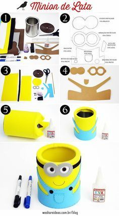 10 Ideias Criativas para Festa dos Minions I feel there's a new syndrome that psychiatrists want to Tin Can Crafts, Paper Roll Crafts, Foam Crafts, Diy And Crafts, Foam Sheet Crafts, Minion Birthday, Minion Party, Diy For Kids, Crafts For Kids