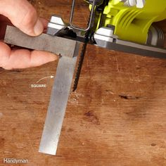 To get a square-edge cut, the blade has to be perfectly perpendicular to the base. So before you make a cut, make sure the blade isn't bent. If it is, just toss it or save it for jobs where a clean, square cut isn't important. With a straight, new blade in the saw, square it up. There's not a lot of surface area on the base, so a smaller square is easier to work with.