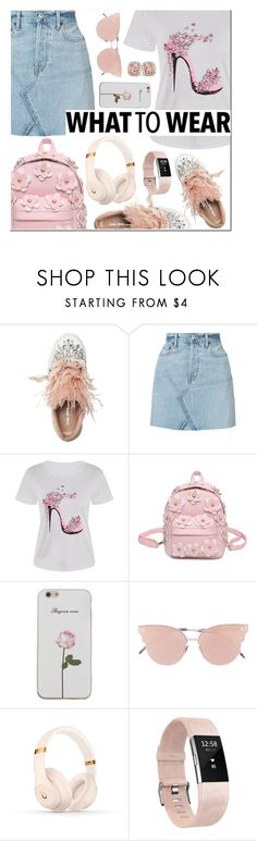 """""""What to wear: White T-shirt"""" by alexa-girl2 ❤ liked on Polyvore featuring Miu Miu, RE/DONE, So.Ya, Beats by Dr. Dre, Fitbit and Allurez"""