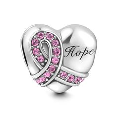"""SOUFEEL Pink Ribbon Heart Charm Swarovski 925 Sterling Silver Charms for Bracelets Necklaces. ❤ Featured here is a pink ribbon design that will look stunning on a charm bracelet. Next to the pink ribbon is a word """"Hope"""", which is a lovely design for all women, whether a fighter, survivor, or a woman who wants to spread the pink ribbon message. It makes a quite thoughtful gift for your loved one. ❤ Suitable for both bracelet and necklace. The diameter of the hole is 4.6mm, which can pass..."""