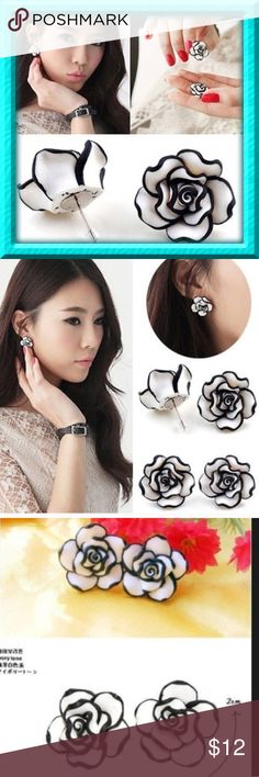 Black & White Rose Flower Earrings ( 100 Available Brand new. This is for 1 pair of earrings. If buying for a party or friends and you are interested in more pairs, just let me know and we'll work out a deal for you. Jewelry Earrings