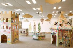 As part of a promotion for a Japanese masking tape manufacturer, art director Koji Iyama constructed a cardboard city and invited children to decorate. Cardboard Kids, Cardboard Animals, Cardboard Crafts, Cardboard Castle, Cardboard Boxes, Play Spaces, Kid Spaces, Masking Tape, Washi Tape