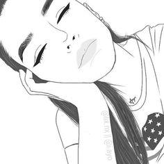 2015 draw art girl adobe cute sleepy bored staight hair outline