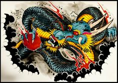 How to draw a Dragon Tattoo Style by thebrokenpuppet Japanese Tattoo Art, Japanese Tattoo Designs, I Tattoo, Cool Tattoos, Awesome Tattoos, Dragon Tattoo Styles, Old School Tattoo Designs, Oriental Tattoo, Dragon Design