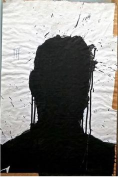 Shadow head on butcher's paper