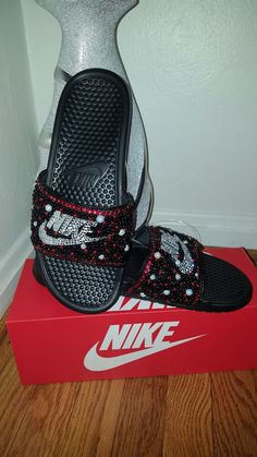 Blinged out nike slides email me for a personalized pair  stlouismyles@yahoo.com