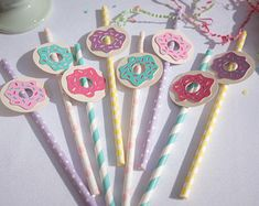 Donut Party, Paper Straws, Drinking Straws, Party Straws, Donut Birthday, Donut Birthday Party, Donut Decor, Donut Party Decor, Birthday