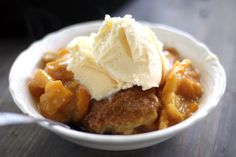 Biscuit Peach Cobbler. Buttery and crumbly, a biscuit is happiest sitting on top of peaches.