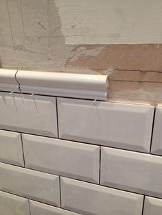 Day 7 - Borders coming along nicely. Dado border tiles from Spain Border Tiles, Kitchen Tiles, Bath Remodel, Backsplash, Cloak Room, Jyj, Herringbone, Bathrooms, Spain