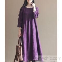 2016 fall purple linen dresses bracelet sleeve pleated linen maxi dress gowns