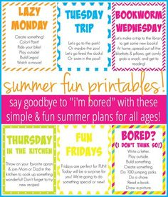 "Say goodbye to the ""I'm Bored"" declarations with these simple & fun summer plans for all ages! Plus, free summer printables to keep you sane!"