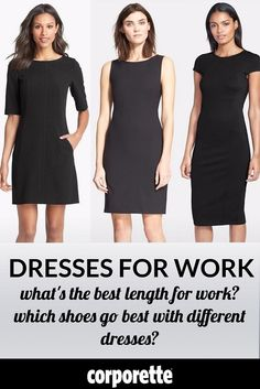 "Dresses for work can be easy -- but tricky! If you've ever asked ""is my dress too short for work,"" or ""which shoes go best with different types of dresses,"" or even where to find the best dresses for tall women, this is the post for you! 