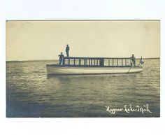 Vintage postcard of a ferry boat on Higgins Lake, Michigan, photo by Fred Mann Otsego Lake, Houghton Lake, Ferry Boat, Indian River, Lake Michigan, Folklore, State Parks, Vintage Photos, Legends