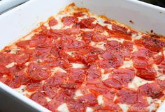 Easy, cheesy pepperoni pizza dip is one of our favorite game day appetizers and our guests always agree. There's something about that crispy pepperoni.