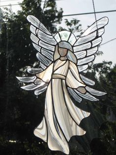Angel Stained glass , beautiful angel , customized. $85.00, via Etsy.