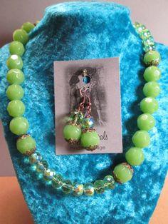 Green Milk Glass & Crystal Necklace Set, Modern Vintage, Victorian, Belle Epoque, Edwardian, Downton Abbey