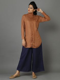 Brown Rayon Moss Shirt_I'd love wearing such combo