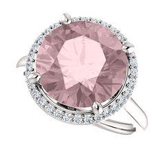 Certified Pink Morganite Diamond Halo Engagement Ring