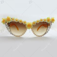 Chic Yellow Flower and Faux Pearl Embellished Summer Women's Sunglasses