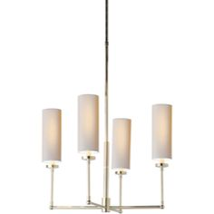 Visual Comfort Thomas O'Brien Ziyi Small Chandelier in Polished Nickel with Natural Paper Shades TOB5015PN-NP