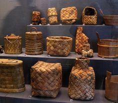 National Museum of Finland, Helsinki Birch Bark Baskets, Birch Bark Crafts, Traditional Baskets, Weaving Designs, Weaving Art, National Museum, Bushcraft, Basket Weaving, Finland