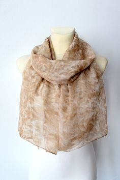 Brown Silk Scarf Fashion Floral Scarf Womens Shawl by LocoTrends
