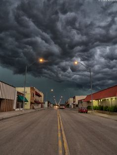 Main Street Buffalo - a collection of dark clouds looming over the street are a warning of a severe storm coming....