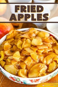 Fried Apples - With just a few simple ingredients, you can turn plain apples into a delicious side dish for dinner or a tasty addition to breakfast! Fruit Recipes, Apple Recipes, Fall Recipes, Dessert Recipes, Cooking Recipes, Vegetarian Cooking, Apple Desserts, Just Desserts, Fried Apples