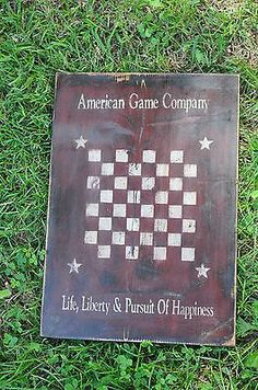 Lg Wood Sign Olde American Game Company Game Board Rustic Country Folk Art Decor
