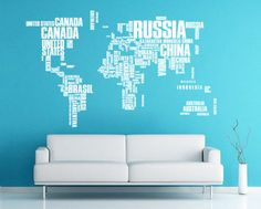 Large World Map Words Typography Travel Decal for Home, Dorm, Office, Living Room or Bedroom