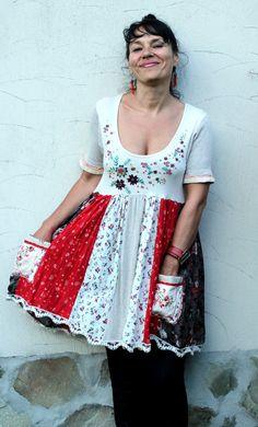 Sweet romantic dress tunic recycled
