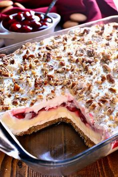 PREP minsCOOK minsTOTAL minsThis Cherry Cheesecake Lush Dessert combines all the flavors of cherry cheesecake with the creaminess of lush! The perfect dessert for the holidays and all year round! vanilla wafer crumbs 1 c. Brownie Desserts, Dessert Oreo, 13 Desserts, Cherry Desserts, Layered Desserts, Cherry Recipes, Delicious Desserts, Cherry Fruit, Birthday Desserts