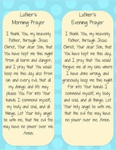 Luther's Morning and Evening Prayer Mini-Posters - Dots on