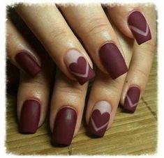 30 Really Cute Nail Designs You Will Love - Nail Art Ideas 2020 Burgundy Nails, Red Nails, Glitter Nails, Hair And Nails, Red Glitter, Matte Nails, Black Nails, Heart Nail Designs, Cute Nail Designs