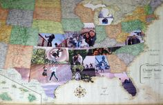 DIY Photo Map! Do you love to travel? I love being able to tell people all of the places I've been! I love to document my travels with photos. It allows me to look back at all of the fun I've had and all of the cool things I have seen! I found a really cool way to document and display all of your travels. All y...  Read More at http://www.chelseacrockett.com/wp/urban/diy-photo-map/.  Tags: #Art, #Artistic, #Craft, #Creative, #Idea, #Memories, #PhotoMap, #Photos, #Trave