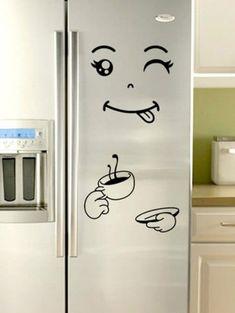 Funny Print Removable Refrigerator Wall Sticker - GRAPHITE BLACK