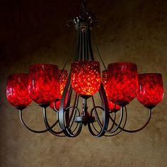 Sweeping Taper Uplight Chandelier (9 Light)  #multilightchandelier #foyerchandelier #blownglasslighting #artglass