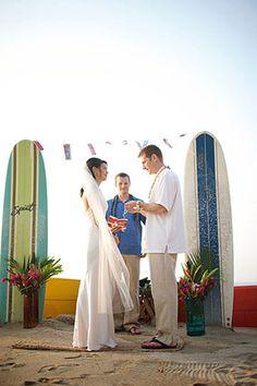 Surf boards as wedding altar decor