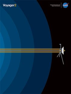 NASA Unveils Free New Graphic Poster To Celebrate Voyager 2 Going Interstellar Minimalist Graphic Design, Minimalist Poster, Graphic Design Posters, Crea Design, Space Illustration, Space Race, Vintage Space, Space And Astronomy, Arte Pop